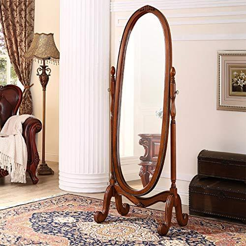 Floor mirror- European Solid Wood Frame Freestanding Vanity Mirror Bathroom Bedroom Home Full Body Furniture Mirrors