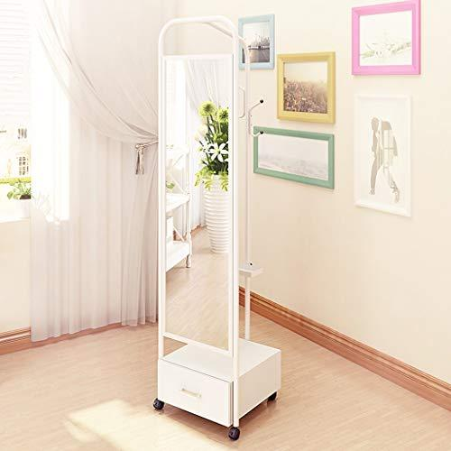 Floor mirror- Multi-functional Dressing Floor Mirror Home Storage Storage Coat Rack Removable Body Fitting Mirror (color : Style two white)