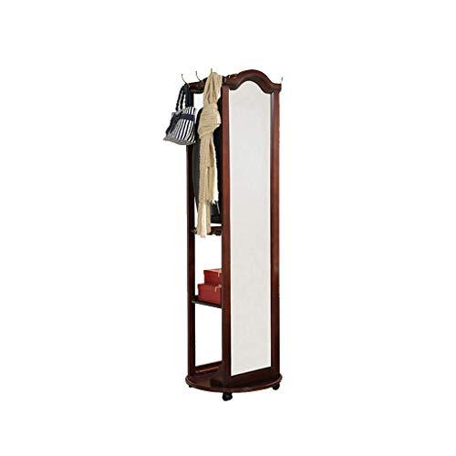 Floor mirror- Simple European-style Multi-functional Bedroom Coat Rack Body Full-length Solid Wood Furniture,183.5 * 57cm (color : A)