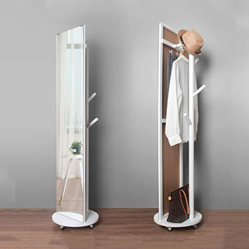Floor mirror- Solid Wood Multi-function Rotating Mirror Home With Coat Rack Nordic Whole Body Floor Mirrors White 166 * 35cm ~0325 (color : White)