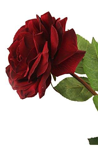 Floral Elegance 92cm Single Stem Fully Open Burgundy Roses x 6-Artificial Luxury Silk Flower Range, Half a Dozen
