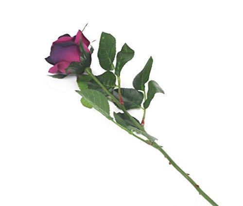 Floral Elegance Artificial 70cm Single Stem Half Open Purple Rose Flowers x 12