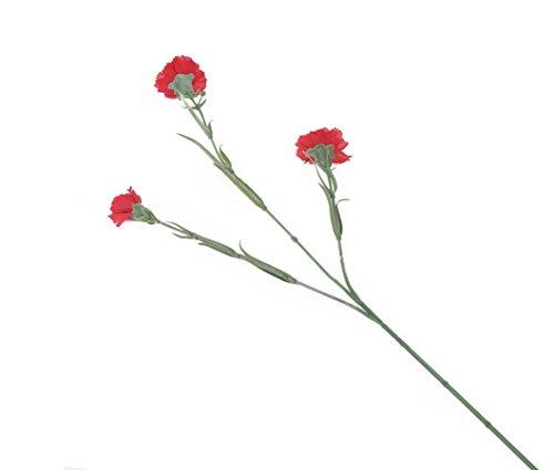 Floral Elegance Artificial 70cm Single Stem Red Carnation Flowers x 12