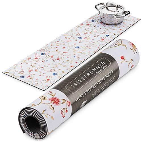 Floral Trivetrunner :Trivet and Table Runner -Decorative Kitchen Table Décor Protects Countertops and Surfaces from Hot Plates, Pots and Dishware - Anti-Slip, Flower Design