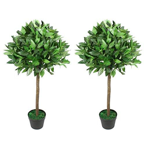 FloralStem 3 ft Artificial Topiary Bay Tree Pair Potted for Outdoor and Indoor Use