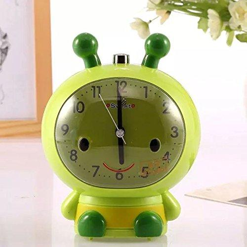FLOSI(TM)Sweet Cartoon Bee Quartz Analog Table Clock Home Decor Latest Generation Desktop Lazy Snooze Silent Sleep Night Light Digital Alarm Clock Battery Operated Home Office Gift For Children/Student/Kids(Green)
