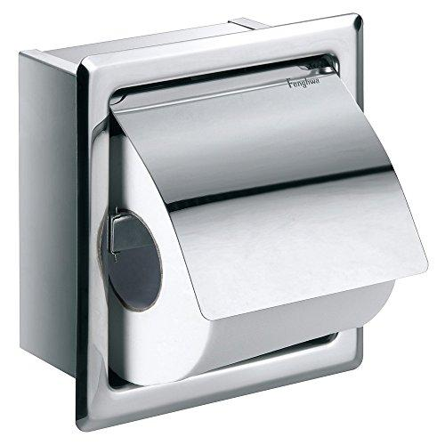 Flova Gloria Single Concealed Recessed Toilet Paper Roll Holder - Diamond Chrome Finish