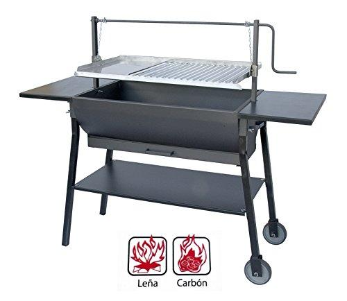 Flowers Cortés 33717 – Barbecue Curve with Chain and Wheels, 67 x 50 x 118 cm, Black