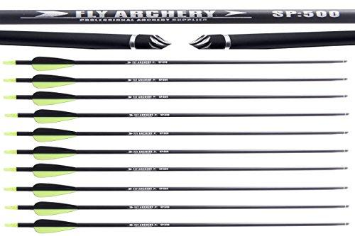 FlyArchery 12PK 30-Inch OD 7.6mm Carbon Arrow With Field Points Replaceable Tips for Compound & Longbow
