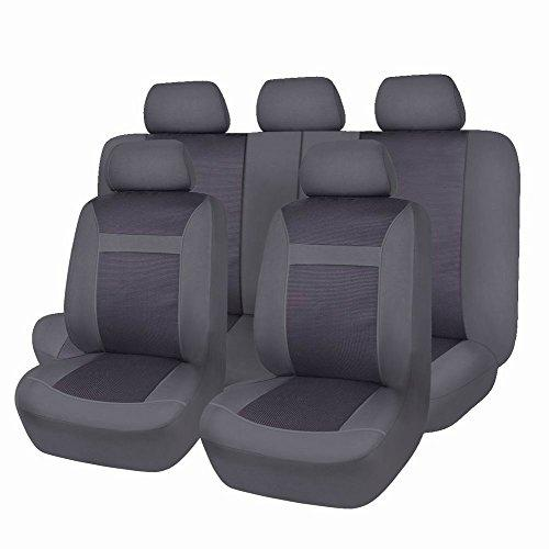 Flying Banner Black and Gray Mesh and Jacquard Universal Car Seat Cover Sets for Cars with Airbag Compatible
