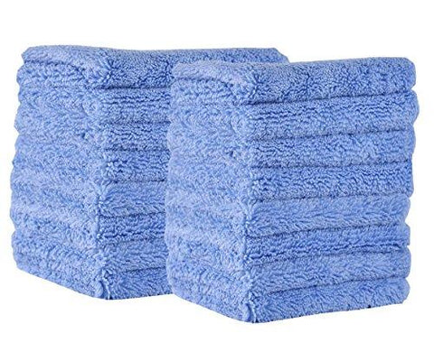 FlyMoon 400gsm Heavy Duty Microfiber Cleaning Cloths,Pack Of 16 Cloth,25X25CM,Super Absorbent Plus fiber,All purpose Washable Cloth for Floor, Car, Kitchen, Sink, Bathroom, Window, Mirror, Countertop, Furniture (Light Blue)