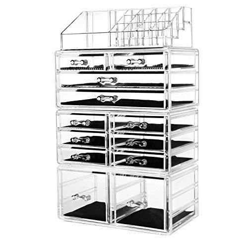 FOBUY Makeup Organiser Storage Clean Acrylic Cosmetic Jewellery Case (12 DRAWERS)