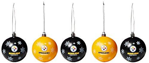 FOCO Pittsburgh Steelers 2016 5 Pack Shatterproof Ball Ornament Set
