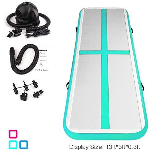 Fojusteu Airtrack Gymnastics Inflatable Gymnastics Tumbling Mat 4M Air Track Floor Mats Gym with 500W Electric Air Pump for Home/Picnic/Exercise/Cheerleading