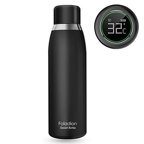 Foladion Smart Water Bottle, 500ml Stainless Steel Vacuum Insulated, LCD Touch Screen, Temperature Indicator, Drinking and Expired Water Reminder, Keep Heat&Cold, Longer Battery Life, PBA-free Safty, Valentines Gift