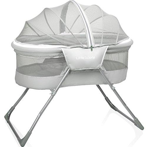 Folding Bassinet Travel Bed Crib Baby With Mosquito Net and Mattress (GREY)