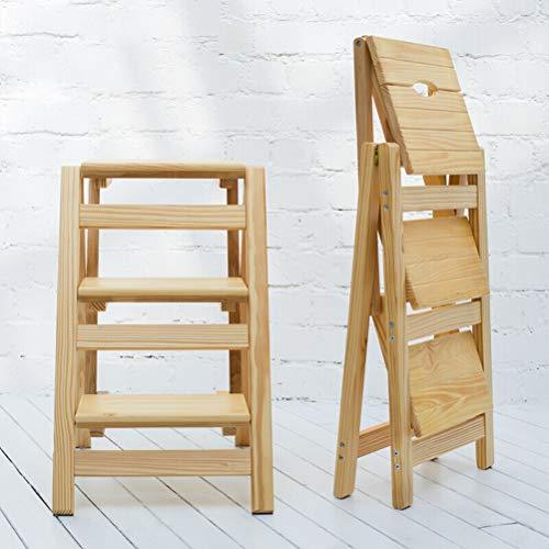 Folding Steps - Stepladders Portable Foldable Anti-slip Step Stool Multifunction Household Ladder for Kids Adults Ladder (Size : 42X56X66CM (wood color))