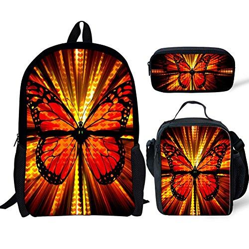19c7ac5e8d5 for U Designs Kids Backpacks for School Teen Butterfly Printed Girls  Backpack Lunchbox Pencil Bags Set
