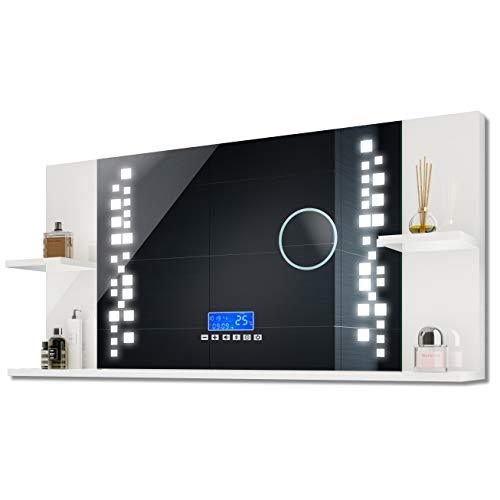 FORAM Bathroom Mirror with LED Illumination and Shelves, Wall-Mounted, Lighting A++ | 110 x 52 x 21.6 cm | SWITCH, SPEAKERS, LCD PANEL | Alpine White