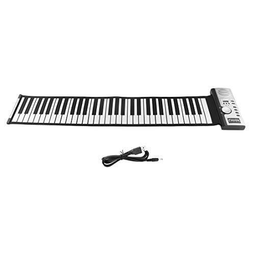Formulaone 61 Keys 128 Tones Roll Up Electronic Piano Keyboard Portable Digital Keyboard Piano Flexible Rechargeable Musical Instrument