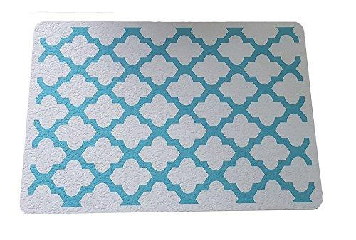 FORTUNE ATTRACTOR Blue Patterns Quatrefoil Diatomite Bath Mat Super Quality Diatomaceous Earth Bath Mat, Absorb Water, Dry Fast By Itself, Water Washable, Durable