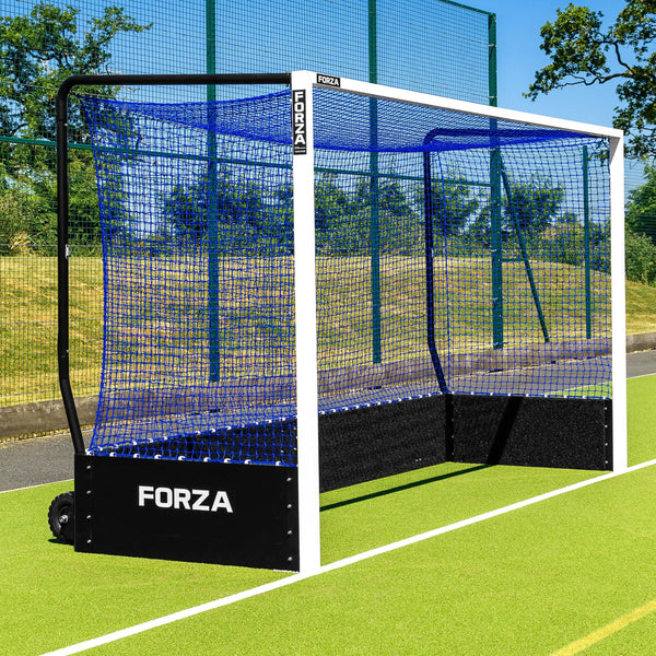 Forza FIH Championship Hockey Goal – Full Sized Weatherproof Aluminium Hockey Goal with Puncture Proof Wheels [Net World Sport] (Pair, Without Weights)