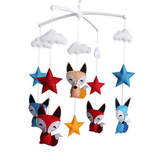 [Foxes and Stars] Newborn Baby Crib Mobile, Colorful Hanging Decor Gift