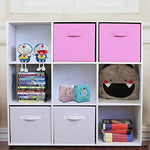 FoxHunter 9 Cube Toy Games Storage Display Shelves Bookshelf With 4 Free Woven Drawers 3 Tier Unit Organiser Rack Kids Children Bedroom TSS02 PB White Pink