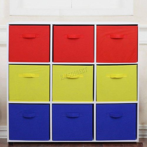 FoxHunter 9 Cube Toy Games Storage Display Shelves Bookshelf With 9 Free Woven Drawers 3 Tier Unit Organiser Rack Kids Children Bedroom TSS03 PB Blue Red Yellow