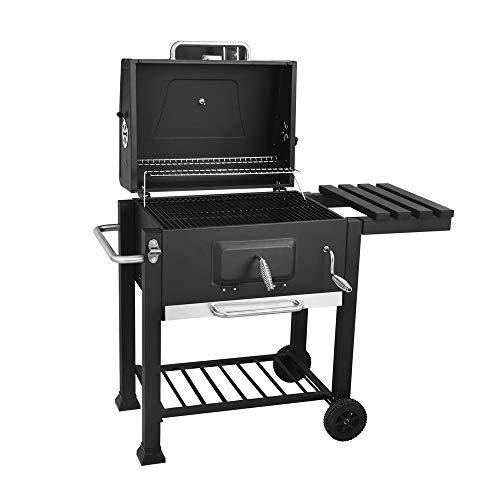 FQCD BBQ Trolley Charcoal Barbecue Grill Outdoor Patio Garden with Side Trays and Storage Shelf