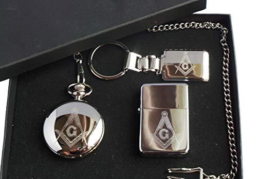 Freemasons, Freemasonry, Masonic GPO Group Exclusive Gift Set, Silver Plated, Freemasons Logo, Masons Of London, Half Hunter Pocket Watch, Masonic Logo, Polished Metal Petrol Lighter And Silver Plated, Freemasons Keyring, In Presentation Box