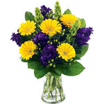 Fresh Inky Twinky Flowers with Free Delivery and Name-a-Rose Gift - A Gorgeous Hand Tied Bouquet of Yellow Gerbera's, Purple Stocks and Lush Foliage All Wrapped by a Real Florist