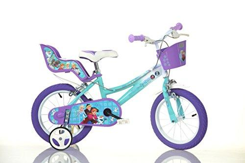 FROZEN Original 14 inch KIDSBIKE girl child-bike childrenbike bicycle toybike lightblue Dollycarrier frontbasket training-wheels mudguard