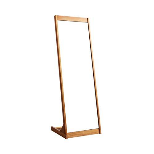 Full Length Mirror,Vintage Wooden Rectangle Free Standing with Storage for Bedroom Hall Floor Mirror (color : Wood color)