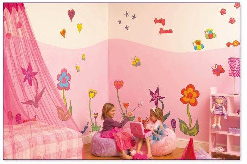 Funky Flower Girl's Nursery and Bedroom Wall Sticker Make-Over Kit