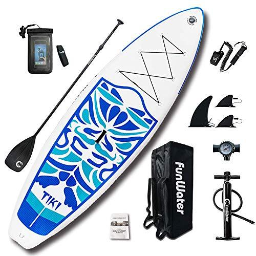 "FunWater TIKI Cruise Paddle Board 10'6 length 33"" wide 6"" thick Inflatable SUP with Adjustable Paddle, ISUP Travel Backpack, Coil Leash, High Pressure Pump and Waterproof phone Case"