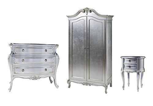 Furniture Expressions Gallery Direct Alexandria 3 Piece Bedroom Set - 2 Door Wardrobe + 3 Drawer Bombe Chest + Bedside Cabinet - Silver Leaf Colour