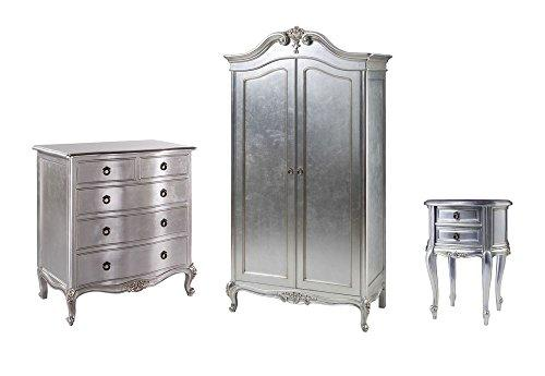 Furniture Expressions Gallery Direct Alexandria 3 Piece Bedroom Set - 2 Door Wardrobe + 5 Drawer Chest + Bedside Cabinet - Silver Leaf Colour