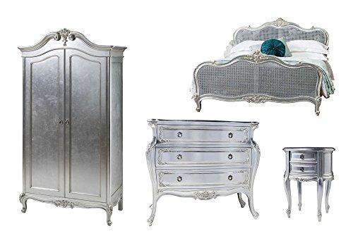 Furniture Expressions Gallery Direct Alexandria 4 Piece Bedroom Set - 5FT King Size Bed + 2 Door Wardrobe + 3 Drawer Bombe Chest + Bedside Cabinet - Silver Leaf Colour