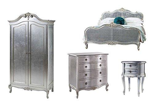Furniture Expressions Gallery Direct Alexandria 4 Piece Bedroom Set - 5FT King Size Bed + 2 Door Wardrobe + 5 Drawer Chest + Bedside Cabinet - Silver Leaf Colour