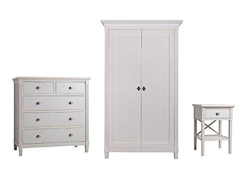 Furniture Expressions Gallery Direct Kiss 3 Piece Bedroom Set - 2 Door Wardrobe + 5 Drawer Chest + 1 Drawer Bedside - White Colour
