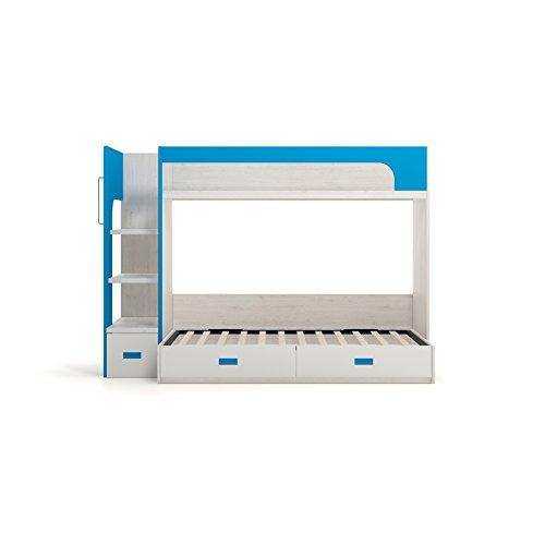 Furniture Ros Bunk Bed with 3 Drawers - 170x200,3x143,5 cm Chêne/Blanc/Blue Azur