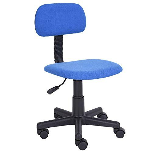FurnitureR Kids Chair Low Back Adjustable Office Chair Computer Desk Seat Stylish Study Task Swivel Chair Armless Blue