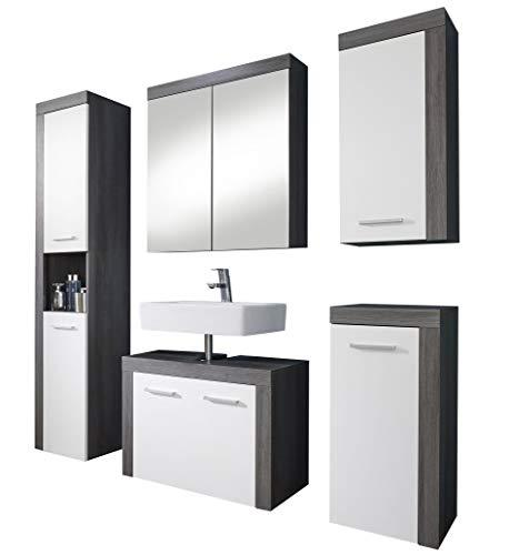 Furnline Bathroom Furniture Set of 5 pcs Miami White Melamine, Smoky Silver, Decor