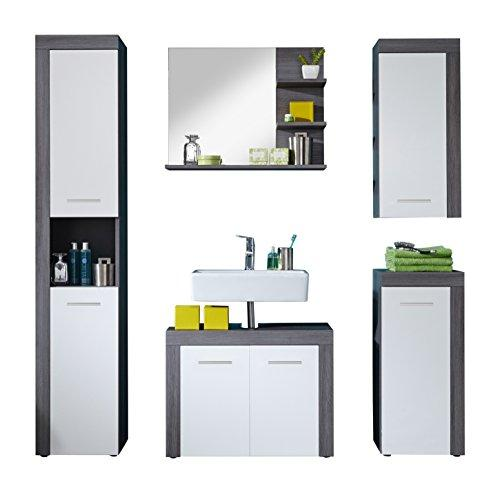 Furnline Bathroom Furniture Set of 5 pcs Miami White Melamine, Smoky Silver
