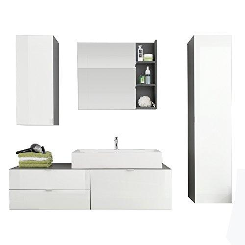 Furnline Beach High Gloss Bathroom Furniture Set, Grey