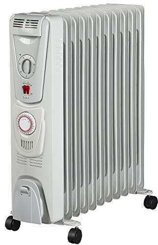 Futura® 2500W Oil Filled Radiator, 11 Fin - Portable Electric Heater - Built-in Timer, 3 Heat Settings, Thermostat and Safety Cut-Off