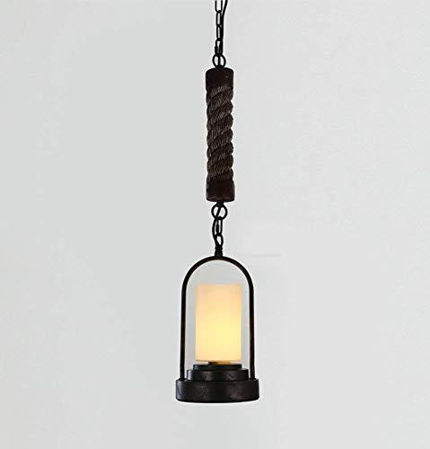 FuweiEncore Retro Chandelier Candlestick Hemp Rope Lamp Bar Cafe Bar Counter Simple Industrial Wind E27 in Diameter 170 Mm Easy to Clean (Color : -, Size : -)