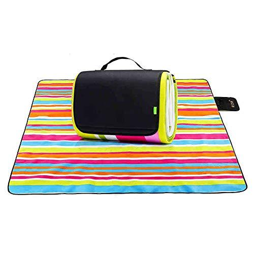 FYHCY Picnic Blanket Outdoor Indoor Portable Waterproof Blanket Backing with Handle Foldable Beach Mat for Picnic Indoor Resting family Day Out Garden Camping Travelling (200 X 200 cm)