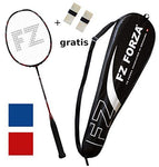 FZ FORZA - Badminton racket Airflow 74 Lite - very light full graphite racquet for great control - strung - red + 2 overgrips for free + fullsize racketcover